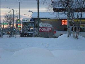 "This drive-through coffee shack in Wasilla, Alaska still has ""Palin Fever"" (Dec. 26, 2008)."