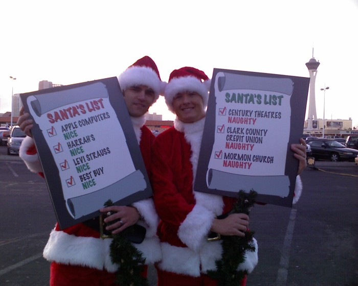 Santas at Stand OUT for Equality rally Dec. 13