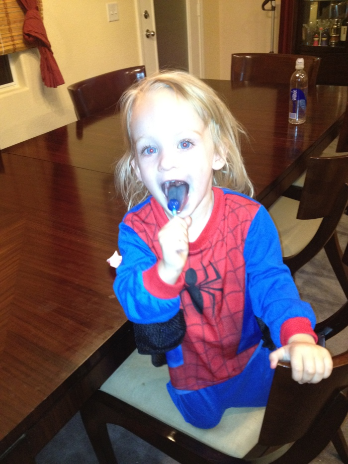 This little girl loves Spiderman!